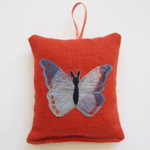 lilac butterfly bag by sally ~containing lavender flowers which hold essential oil in them to create the scent.