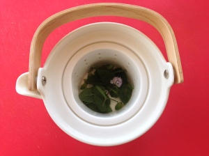 Fresh mint tea with flowering top
