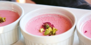 Honey And Rose Panna Cotta with subtle flavours of rose and cardamom. Photo care of Unimed Living
