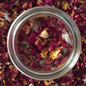 jar of rose petals